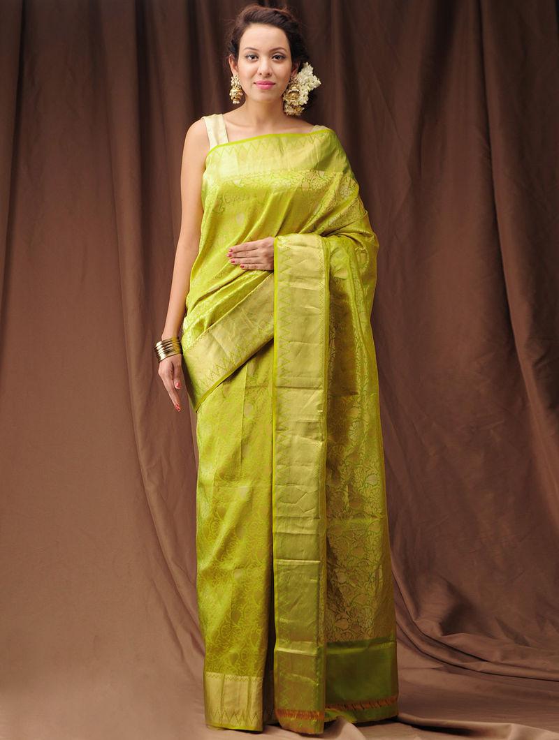 dc70337841 Lime Green Zari Kanjivaram Silk Saree Woven Sarees