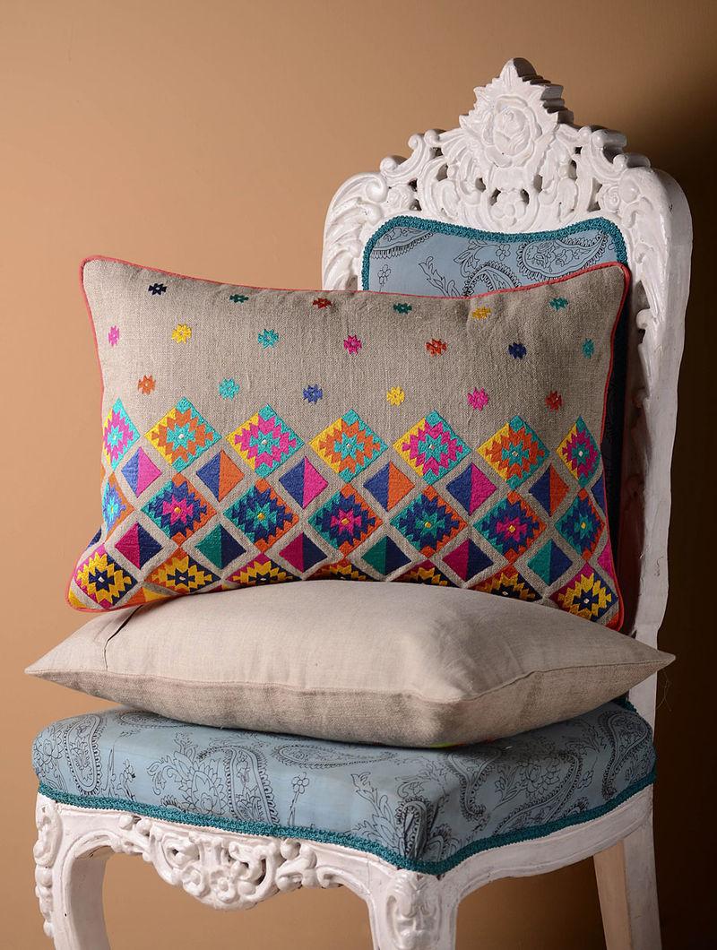 Grey Kilim Folk Cushion Cover  21in x 14in