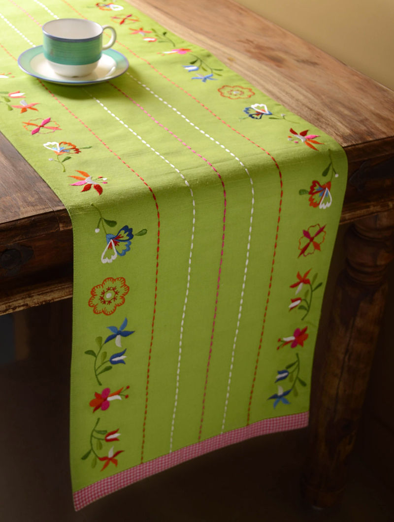 Green Shabby Chic Table Runner  60in x 14in