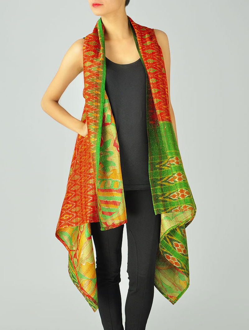 Orange Upcycled Silk-Saree Kantha Shrug (Free Size)
