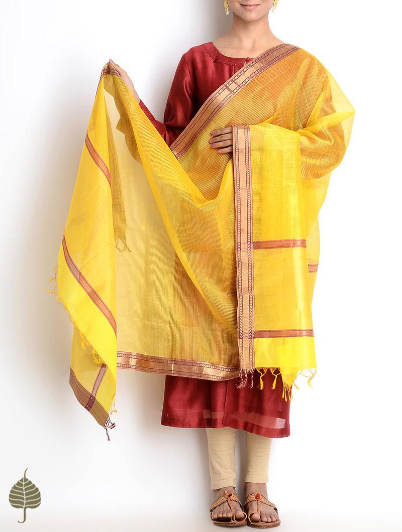 Yellow-Bronze Maheshwari Silk-Cotton Dupatta