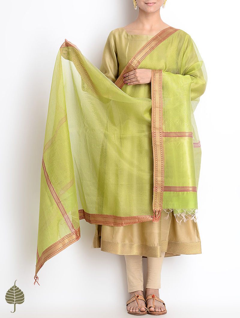 Green-Red Maheshwari Silk-Cotton Dupatta
