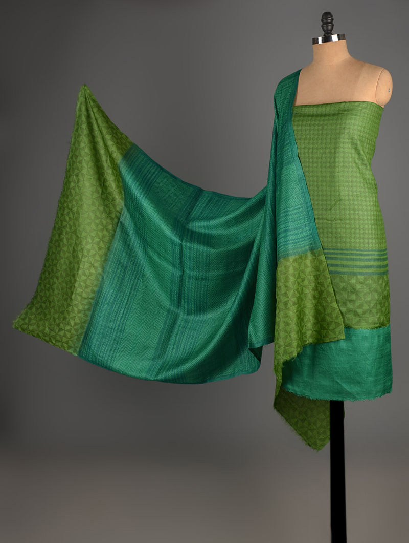 Green-Olive Tussar Silk Block Printed Kurta Fabric with Salwar and Dupatta - Set of 3
