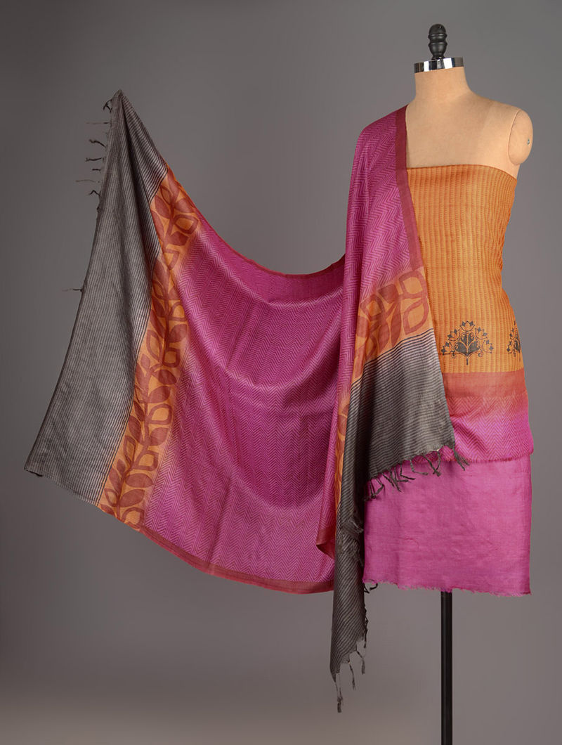 Fuschia-Black-Orange Tussar Silk Block Printed Kurta Fabric with Salwar and Dupatta - Set of 3