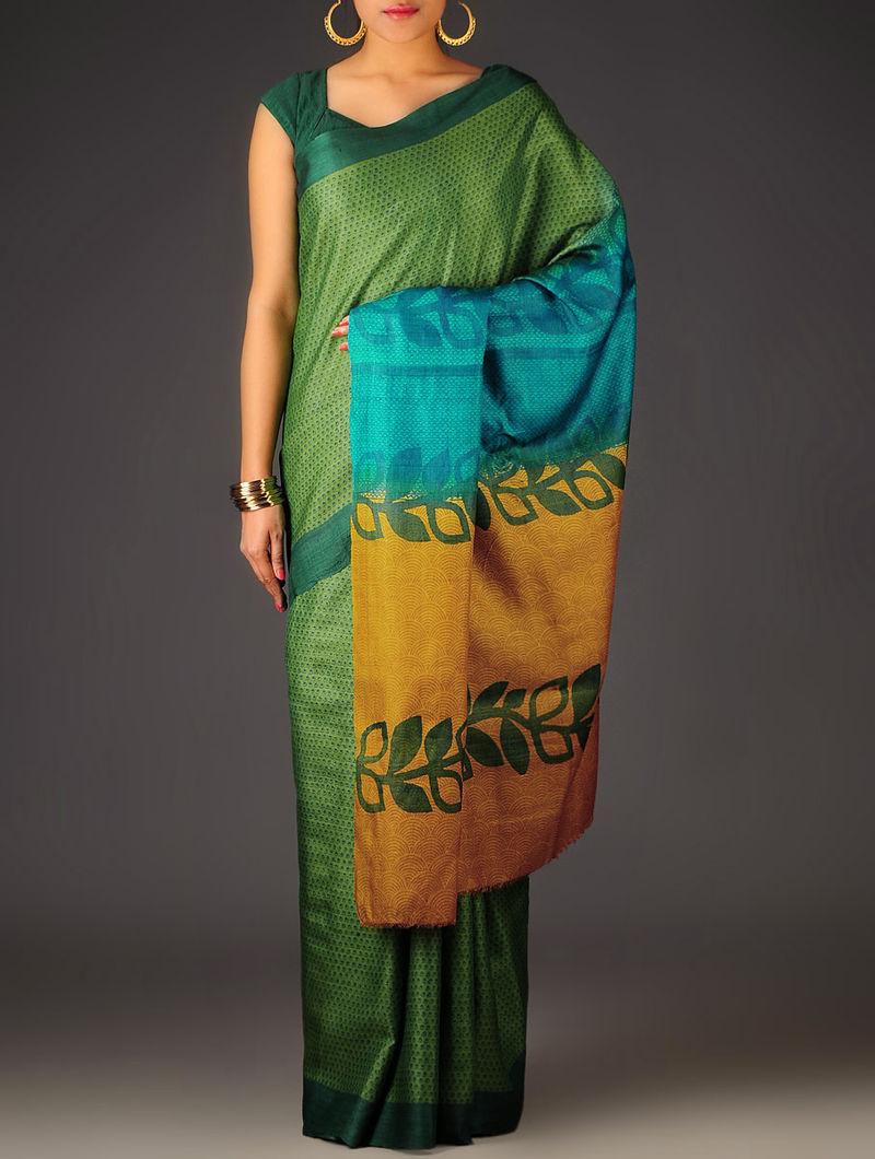Green-Mustard Abstract Tussar Silk Block Printed Saree