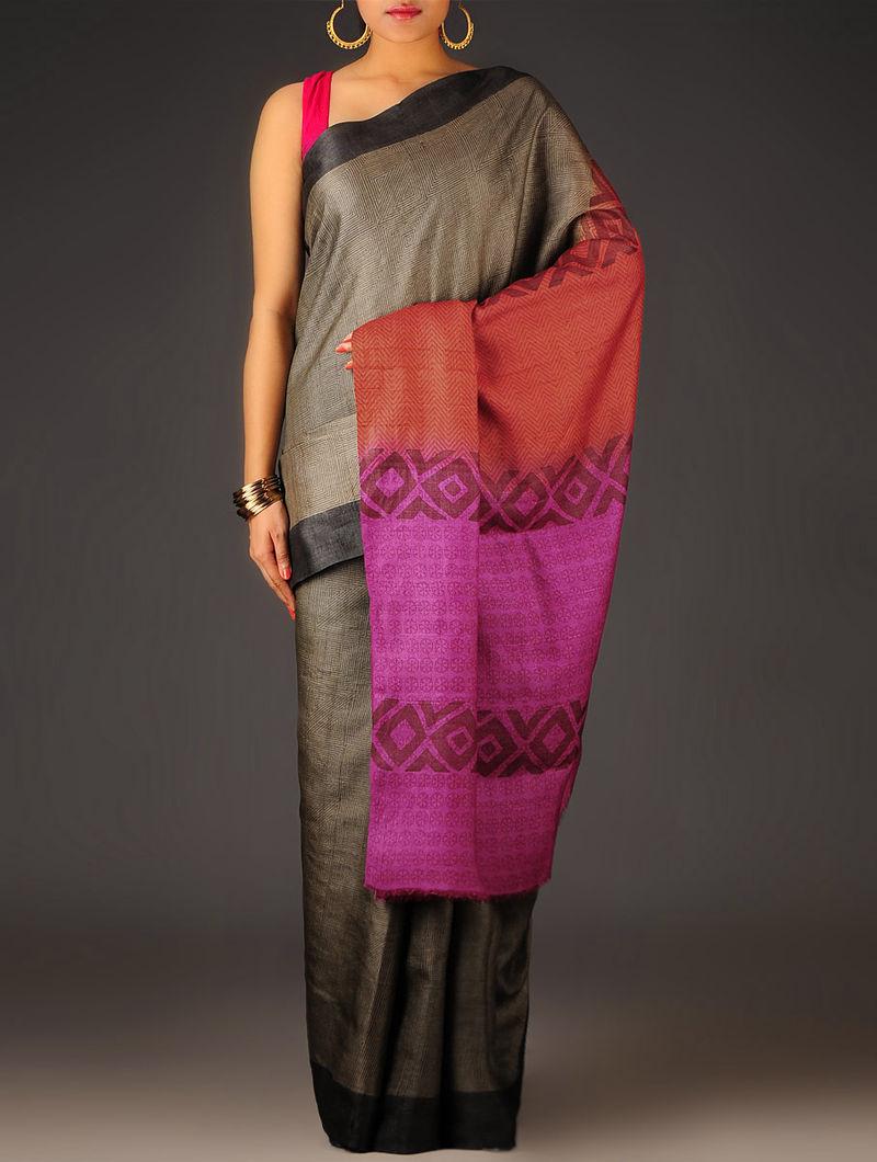 Black-Fuschia Geometric Tussar Silk Block Printed Saree