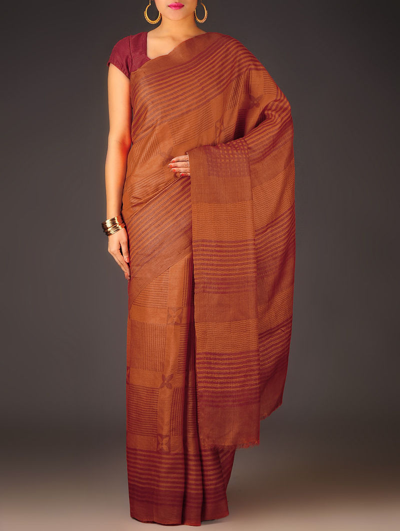 Orange-Grey Geometric Tussar Silk Block Printed Saree