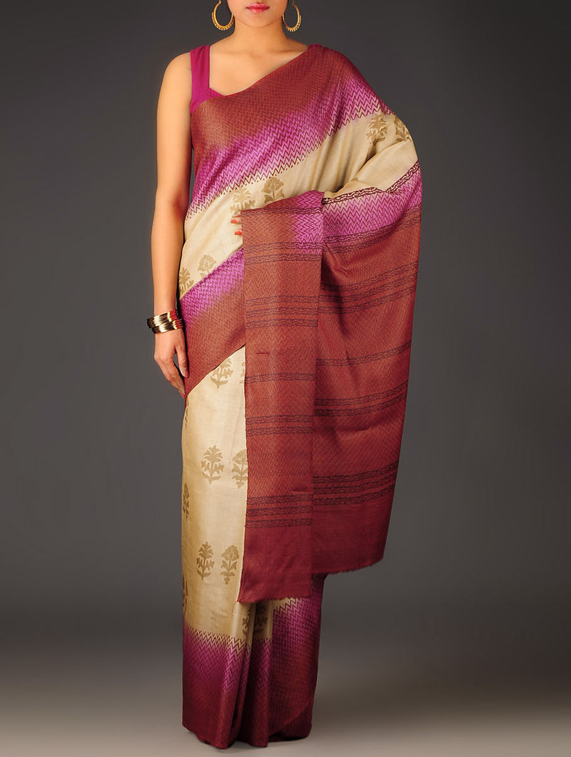 Beige-Red-Pink Floral Tussar Silk Block Printed Saree