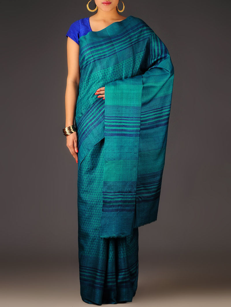 Blue-Red Geometric Tussar Silk Block Printed Saree