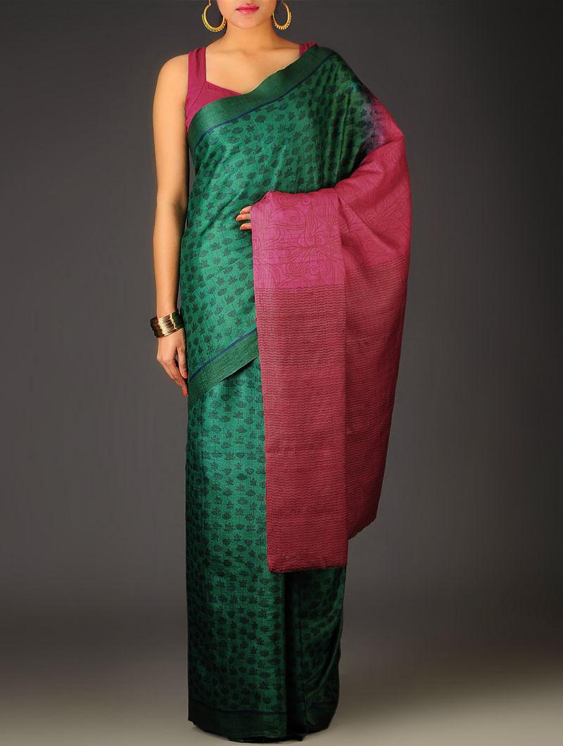 Green-Fuschia Floral Tussar Silk Block Printed Saree