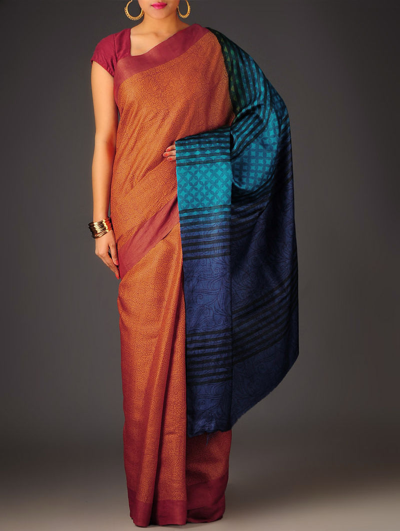 Orange-Beige Abstract Tussar Silk Block Printed Saree
