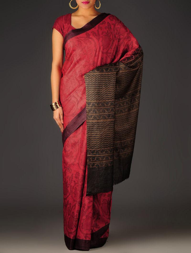 Red-Brown-Blue Abstract Tussar Silk Block Printed Saree