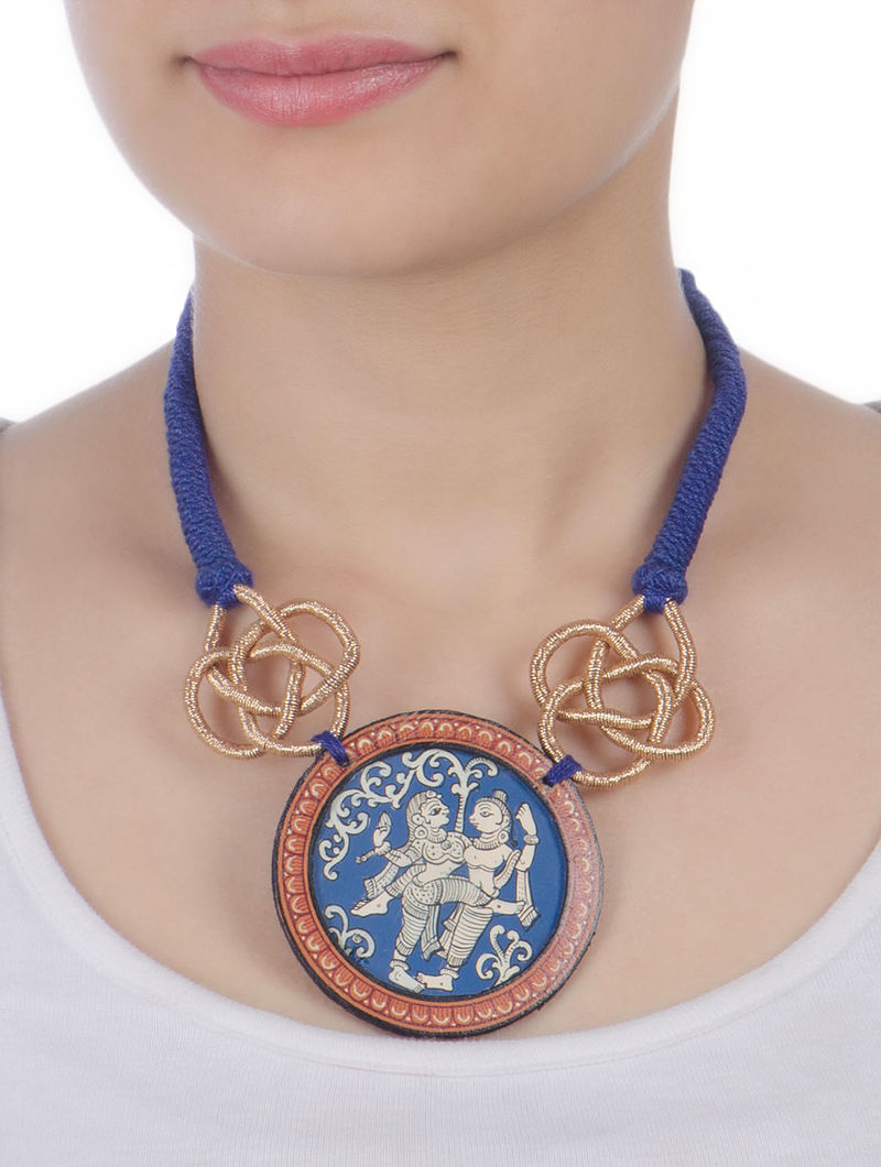 Glass Encased Hand-Painted Pattachitra Necklace